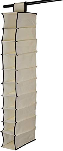 ZCYY 10 Bolsillos para Colgar Zapatos de Tela Material de Tela para Colgar los Zapatos del Armario Armario de Almacenamiento de Ropa Beige