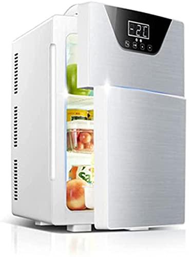 CDFCB Congelador portátil Mini refrigerador 20L - refrigerador pequeño para automóviles y hogar con Pantalla táctil Double Puerta 12V Fridge refrigerador más Caliente-Plata