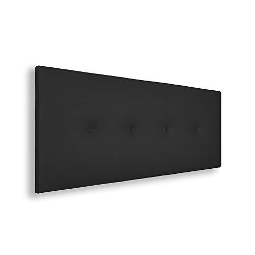 Silcar Home | Cabecero de Cama Tapizado en Polipiel con Hilera de Botones, Modelo Silvi (Negro, 145 cm) | Cabecero Acolchado | Cabezal Tapizado | Cabecero Original