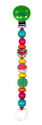 Hess 13712 Wooden Forest Animals Pacifier Holder Baby Toy, Multi-Color