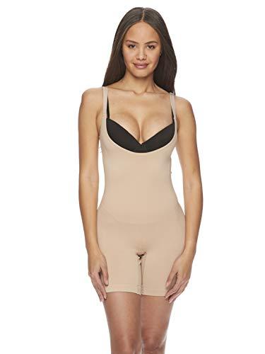 bebe Damen Body Shaper Tag Free trägerlos gekuppt Mitte Oberschenkel Body (Tragen Sie Ihren eigenen BH) - Beige - 2X Mehr