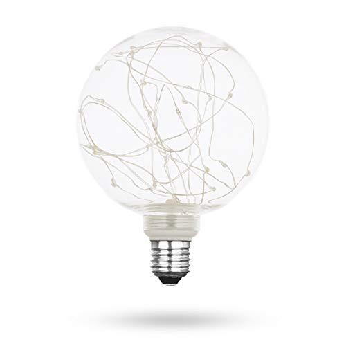 Xqlite LSO-04011 LED-Leuchtmittel STARRY G125 dekorative Lichterkette in Glühbirne, 50 lm, Glas, E27, 1.5 W, Transparent, 17.8 x 12.8 x 12.8 cm