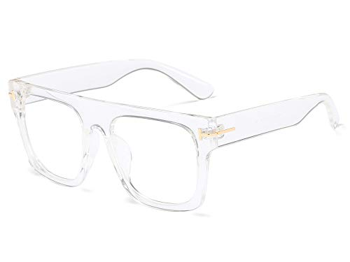Allt Unisex Large Square Optical Eyewear Non-prescription Eyeglasses Flat Top Clear Lens Glasses Frames (Transparent)