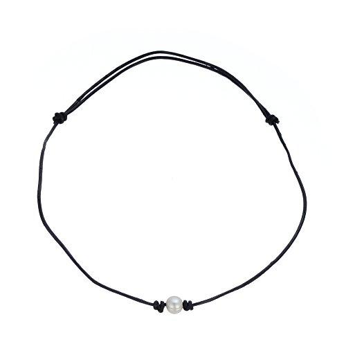 Hecho a mano único blanco perla Agua Dulce Pearl Gargantilla Collar para las mujeres las niñas cuero cuerda collar