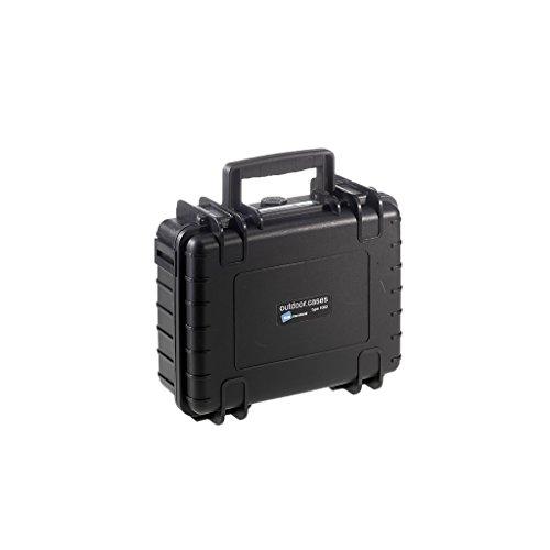 B&W Outdoor Case Hartschalenkoffer Typ 1000 mit Schaumstoff (Hardcase Koffer IP67, SI Würfelschaum, wasserdicht, Innenmaß 25x17,5x9,5cm, Schwarz)