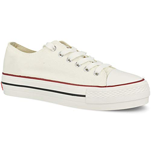 PAYMA - Zapatillas Botas de Lona para Mujer. Bambas Playeras de Deporte Casual Caminar. Piso Doble. Negras y Blancas
