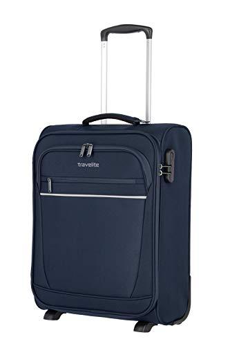 travelite 2-Rad Handgepäck Koffer mit Schloss erfüllt IATA Bordgepäck Maß, Gepäck Serie CABIN: Kompakter Weichgepäck Trolley, 090237-20, 52 cm, 39 Liter, marine (blau)