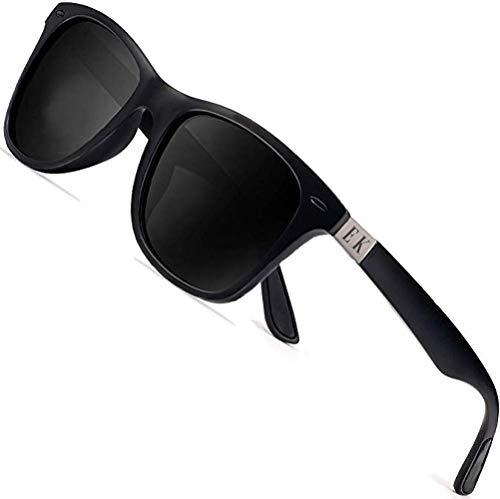 Erik Kalani Gafas de sol polarizadas para hombre, gafas de sol para mujer, antirreflectantes, negras, ligeras, para coche, moto, bicicleta, esquí, gafas de sol