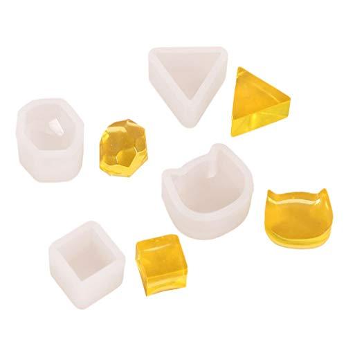 N/A. Juego de 4 moldes de resina epoxi de silicona para pendientes, collares, anillos, manualidades, decoración de mesa del hogar, organizador de joyería