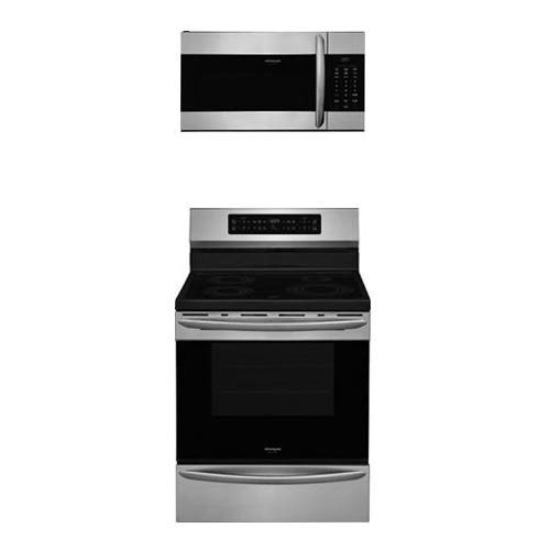 """Frigidaire 2-Piece Kitchen Package with FGIF3036TF 30"""" Freestanding Electric Range and FGMV176NTF 30"""" Over the Range Microwave Oven in Stainless Steel"""