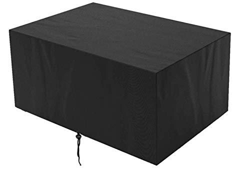 2 fundas para mesa y silla, 210D, tela Oxford 210D, protección contra la lluvia y el sol, rectangular para mesa de comedor, adecuado para exteriores, jardín, negro, 270 x 180 x 89 cm