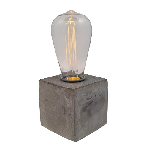 LITEZALL LED Lamp Inspired Edison Bulb Concrete Table Accent Battery Powered Lamp - Rustic Table Lamp - Desk and Bedside Lamp Fancy, Vintage Light Bulbs with 6 Hour Timer