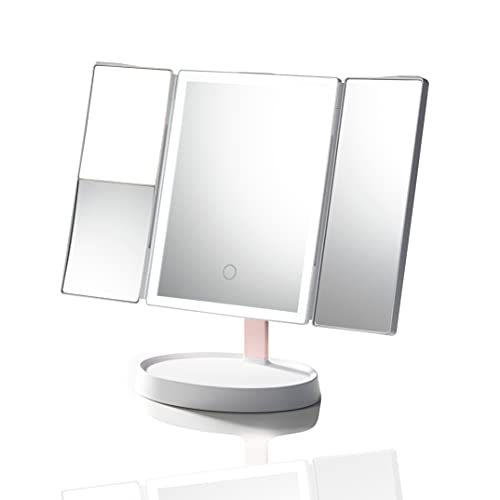 Joyous Makeup Mirror with 52 Led Lights-Trifold Mirror with 3x/2x Magnification,3 Color Lighting Modes,Touch Screen,Dual Power Supply,Countertop Cosmetic Mirror,White and Pink,M1,12.5x13.8inch