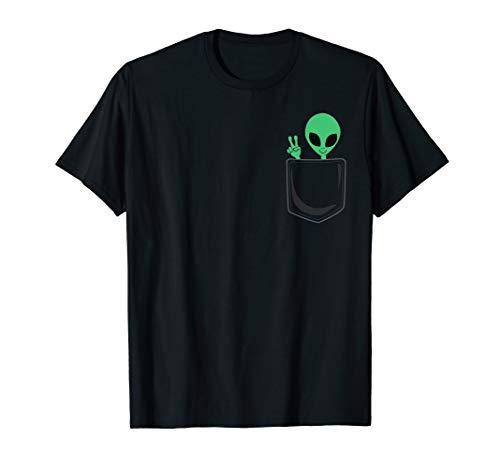 UFO Lover Gift Cute Little Pocket Alien Peace Sign T-Shirt
