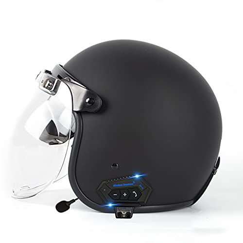 Bluetooth Moto Casco,Casco Moto Abierto Custom Scooter con Visera Cruiser Bike Chopper Jet Casco con Doble Visera de Sol para Unisex/All Seasons Homologado ECE C,M=57~58cm