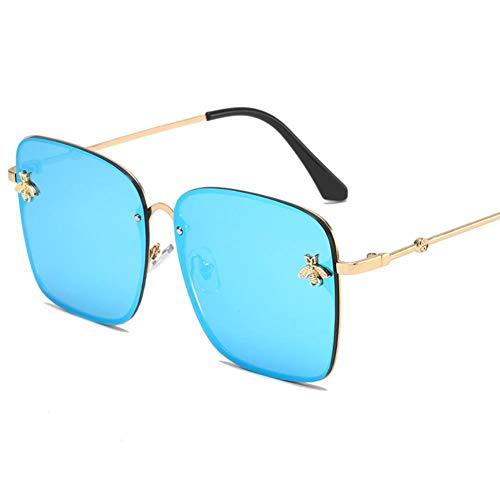 Gafas De Sol Unisex para Hombres Y Mujers Polarizadas Protección Uv400 Clásico Vintage Moda Sunglasses Lente Azul Marco Dorado