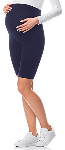 Be Mammy Leggins Premamá Cortos Shorts Embarazo Lactancia 04(Azul Marino, S)