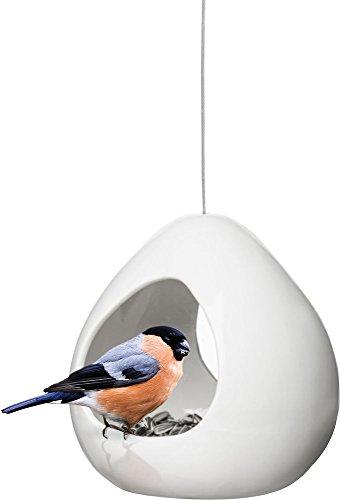 Sagaform Vogelfutterhaus, Keramik, Weiß, 13 x 14,5 x 16 cm