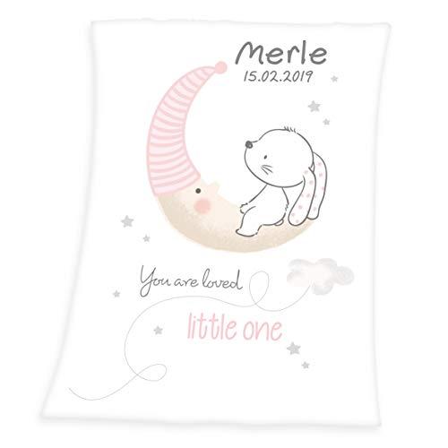 *Wolimbo Soft-Peach Babydecke mit Wunsch-Namen und KLEINER HASE Motiv 75×100 cm – personalisierte/individuelle Geschenke für Babys und Kinder zur Geburt, Taufe und Geburtstag*