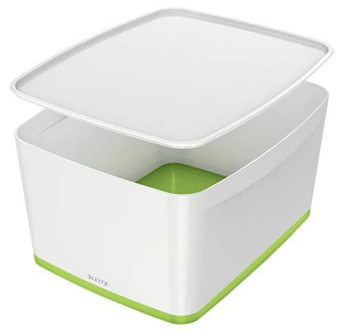 Leitz MyBox, Aufbewahrungsbox mit Deckel, Groß, Blickdicht, Weiß/Grün Metallic, Kunststoff, 52161064