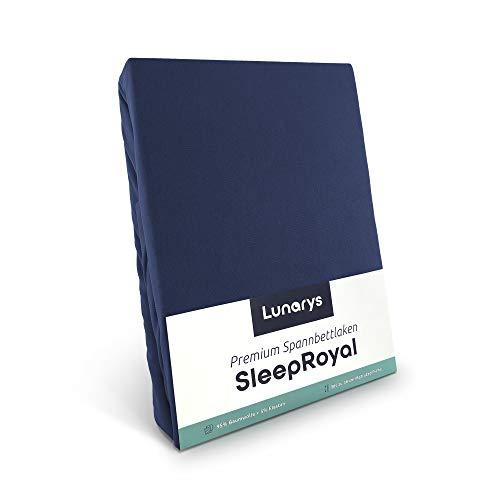 Lunarys® SleepRoyal Luxus Spannbettlaken 200x200 cm / schwere Qualität / 250 g/m² / 40 cm Steghöhe / für hohe Matratze, Boxspringbett & Wasserbett / hochwertiges blickdichtes Jersey-Spannbetttuch