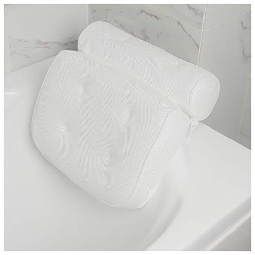 Eoeth Bath Pillow Bathtub Spa Pillow Non-Slip 6 Large Suction Cups for Perfect Head,Comfortable, Soft, Large, Luxury Panel Design for Shoulder, Neck Support, Great for Hot Tub, Jacuzzi, Spas White