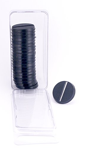Hedral Value Pack of 20 - 25MM Round Slotted Black Light Infantry Miniature Model Bases for Tabletop or Miniature Wargames