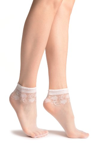LissKiss White With Wine Leaves Socks Ankle High - Weiß Socken Einheitsgroesse (37-42)