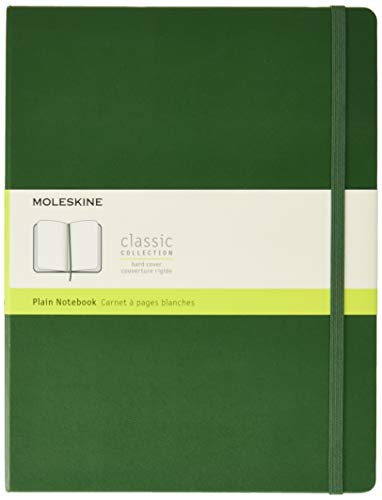 Moleskine Classic Notebook, Hard Cover, XL (7.5 x 9.5) Plain/Blank, Myrtle Green, 192 Pages