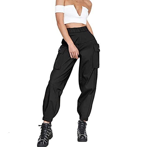 guyueqiqin Women's Cargo Pants, Casual Outdoor Solid Color Elastic High Waisted Baggy Jogger Workout Pants with Pockets(S,Black)