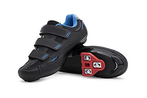 Tommaso Pista Women's Indoor Cycling Ready Cycling Shoe Bundle - Black/Blue - Look Delta - 41