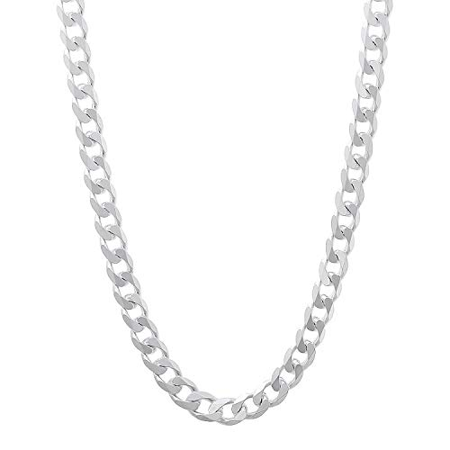 Authentic Solid Sterling Silver Cuban Curb Link .925 ITProLux Necklace Chains 2MM - 10.5MM, 16\' - 30\', Silver Chain for Men & Women, Made In Italy, Next Level Jewelry (5MM,24)