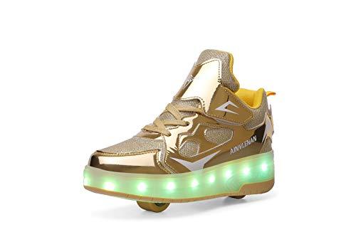 ZKHD Zapatos de Patinaje sobre Ruedas para Niños Zapatillas de Deporte con Luz LED Carga USB Doble Rueda Zapatos de Skate Técnicos Luminosos Acción de Gracias Día de Navidad, Yellow-EU28