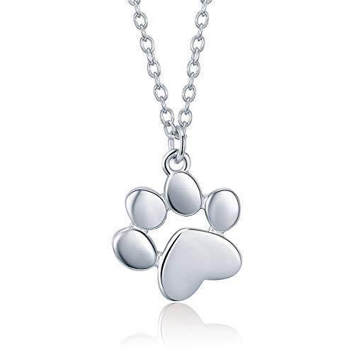 Plata de ley 925 lindo animal huellas perro gato huellas collares colgantes mujer plata joyería