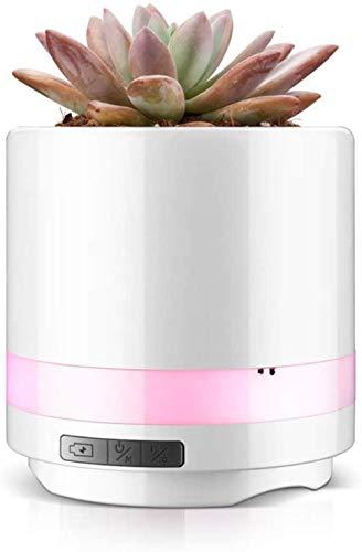 Luz de noche LED, altavoz bluetooth inalámbrico colorido altavoz subwoofer USB música maceta de flores, adecuado para dormitorio mesita de noche decoración de Navidad regalo de cumpleaños