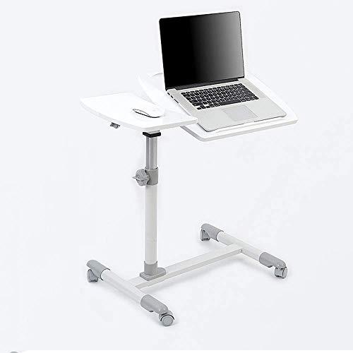 Home&Selected Furniture/Tragbarer Laptop Stand Schreibtisch Wagen mit Maus Brett, verstellbar in Höhe, 360;Lenk- und 180;Tilt, abschließbare Casters (Farbe: schwarz) (Color : White)