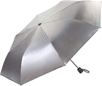 Coolibar UPF 50+ Bund Compact Umbrella - Sun Protective  One Size- Silver/Green