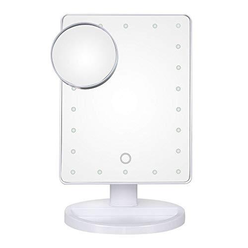LFK Smart LED Lámpara de mesa Espejo de escritorio con detección táctil de iluminación HD con 10 lupas de ventosa pequeño espejo redondo (color: blanco)