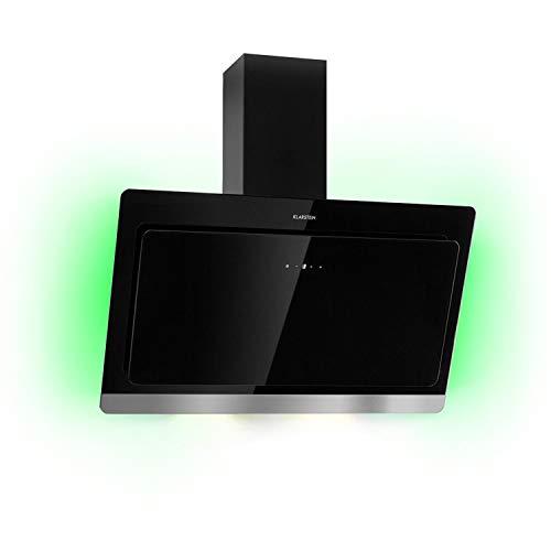 Klarstein Aurora Eco 90 - Wandabzugshaube, Kopffreihaube, Dunstabzugshaube, 90 cm, 550 m³/h Leistung, RGB-Farben, 59 dB leise, Umluft und Abluft, schwarz