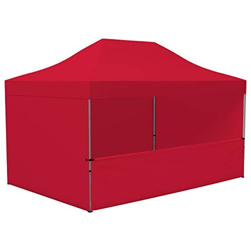 Vispronet Profi Faltpavillon/Faltzelt Basic 3x4,5 m, Rot, 4 Wände/Davon 1 Halbhohe Zeltwand, Stahl-Scherengitter, faltbar (weitere Farben & Größen)