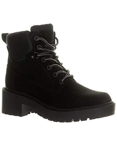 KENDALL + KYLIE Women's Vegan Leather Weston Combat Hiking Boots, Black, 9