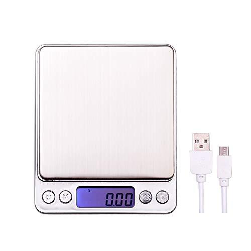 Báscula Cocina Digital con Carga USB,Báscula Cocina Precisión 500g/0.01g o 3000g/0.1g Balanza de Cocina Acero Inoxidable, Multifunción Balanza de Alimentos, Lcd Digital Escala, Batería incluida
