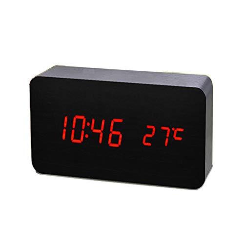 ThreeH Cuboid Sveglia da Tavolo Digitale - Ora/Temperatura/Data Display,Orologio da Tavolo LED Controllo Vocale Carica USB o Batteria Black_Red