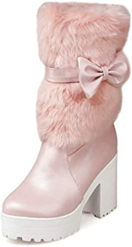 HOESCZS 2019 Blanc Les Les dames Chaussures à Talons Hauts Hauts Femmes Mi-Mollet Bottes Doux Noeud Papillon Hiver Hiver Femme Bottes De Neige Décontracté Chaussures Taille 34-42  marques en ligne pas cher vente