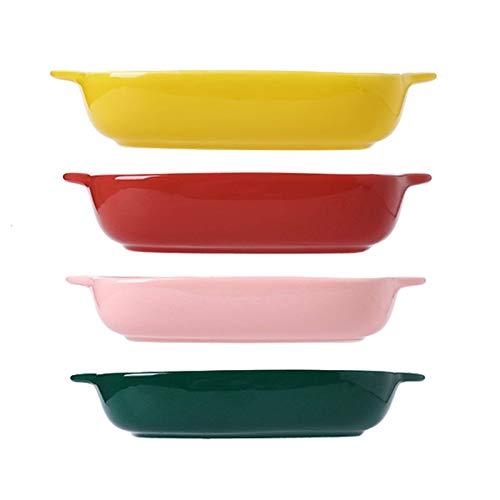 Gflyme Ensemble de 4 ustensiles de Cuisson en Porcelaine, Plats de Cuisson rectangulaires à lasagnes pour la Cuisson, Les banquets et l'utilisation Quotidienne - PFOA PFOS PTFE Free