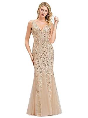 Women's Double V-Neck Sleeveless Mermaid Dress Evening Bridesmaid Dress Gold US18