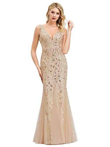 Women s Sexy V-Neck Evening Party Wedding Party Floor Length Prom Gown Gold US16