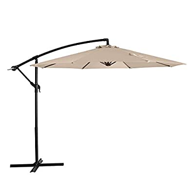 JIESSIWONG Offset Umbrella - 10ft Cantilever Patio Umbrella Hanging Outdoor Umbrellas with Crank & Cross Base (10ft,Beige)