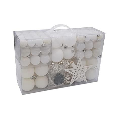 100 bolas de Navidad y estrella para el árbol de Navidad, color blanco