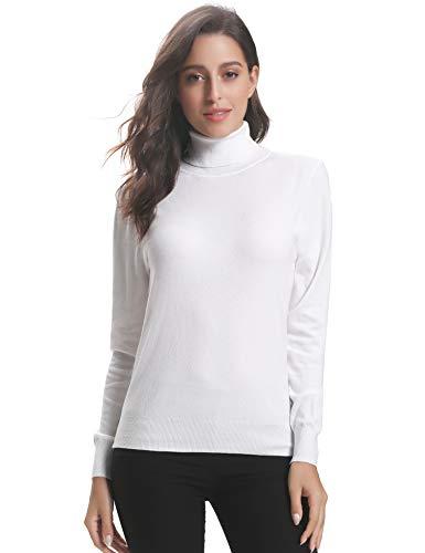 Abollria Damen Strickpullover mit Rollkragen Langarm Weich Elastisch Feinstrickpulli Casual Kuschelig Sweatshirt für Winter